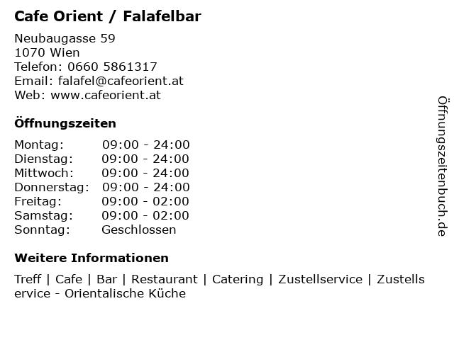 Cafe Orient / Falafelbar in Wien: Adresse und Öffnungszeiten