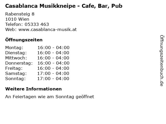 Casablanca Musikkneipe - Cafe, Bar, Pub in Wien: Adresse und Öffnungszeiten