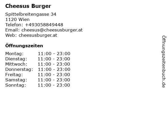 Cheesus Burger in Wien: Adresse und Öffnungszeiten