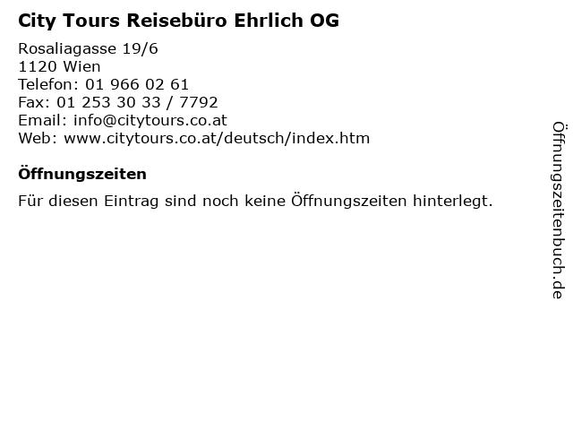 City Tours Reisebüro Ehrlich OG in Wien: Adresse und Öffnungszeiten