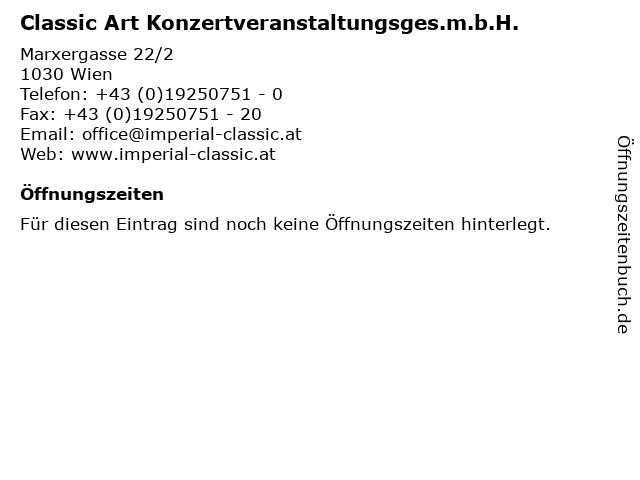 Classic Art Konzertveranstaltungsges.m.b.H. in Wien: Adresse und Öffnungszeiten