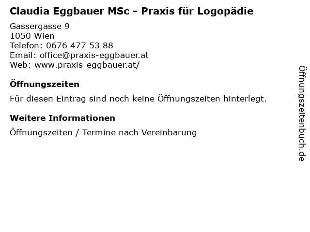 Claudia Eggbauer MSc - Praxis für Logopädie in Wien: Adresse und Öffnungszeiten