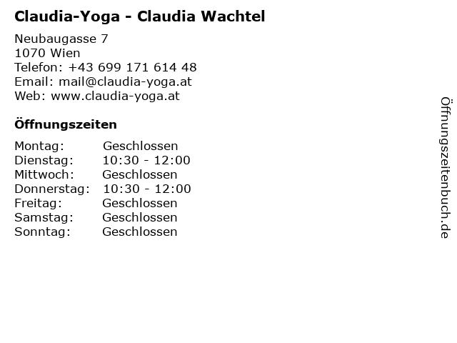 Claudia-Yoga - Claudia Wachtel in Wien: Adresse und Öffnungszeiten