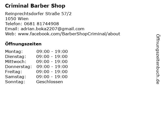 Criminal Barber Shop in Wien: Adresse und Öffnungszeiten