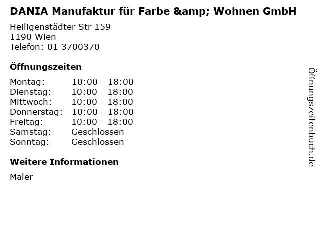 DANIA Manufaktur für Farbe & Wohnen GmbH in Wien: Adresse und Öffnungszeiten