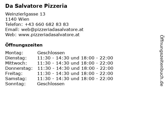Da Salvatore Pizzeria in Wien: Adresse und Öffnungszeiten