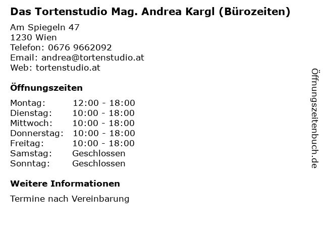 Das Tortenstudio Mag. Andrea Kargl (Bürozeiten) in Wien: Adresse und Öffnungszeiten