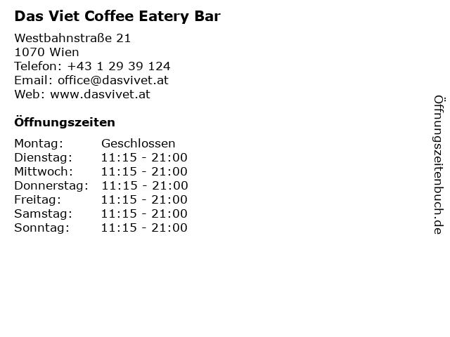 Das Viet Coffee Eatery Bar in Wien: Adresse und Öffnungszeiten