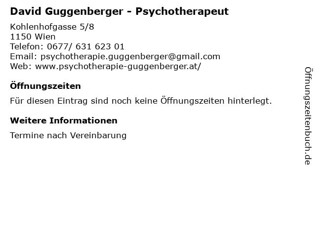 David Guggenberger - Psychotherapeut in Ausbildung unter Supervision in Wien: Adresse und Öffnungszeiten