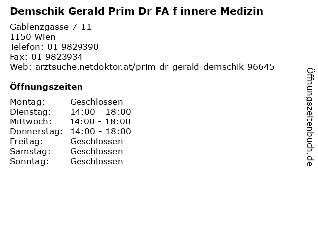 Demschik Gerald Prim Dr FA f innere Medizin in Wien: Adresse und Öffnungszeiten