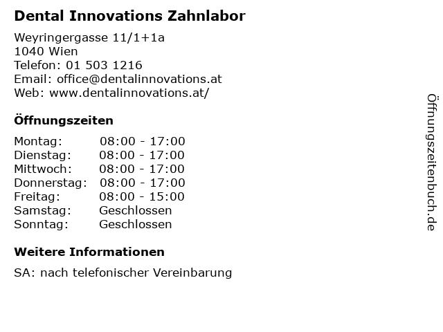 Dental Innovations Zahnlabor in Wien: Adresse und Öffnungszeiten