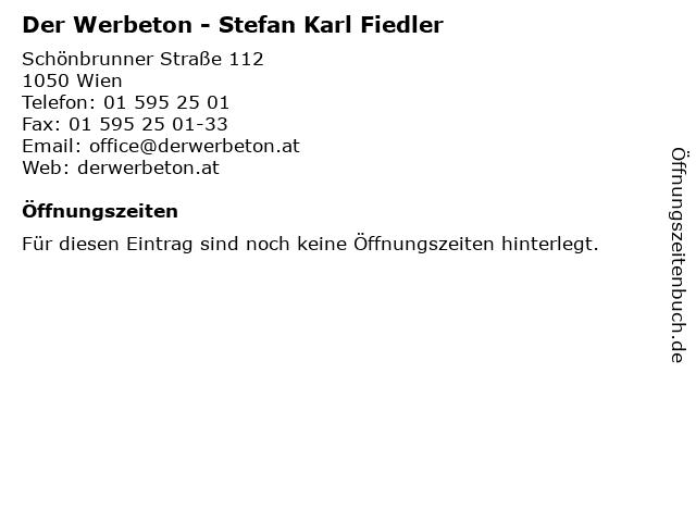 Der Werbeton - Stefan Karl Fiedler in Wien: Adresse und Öffnungszeiten