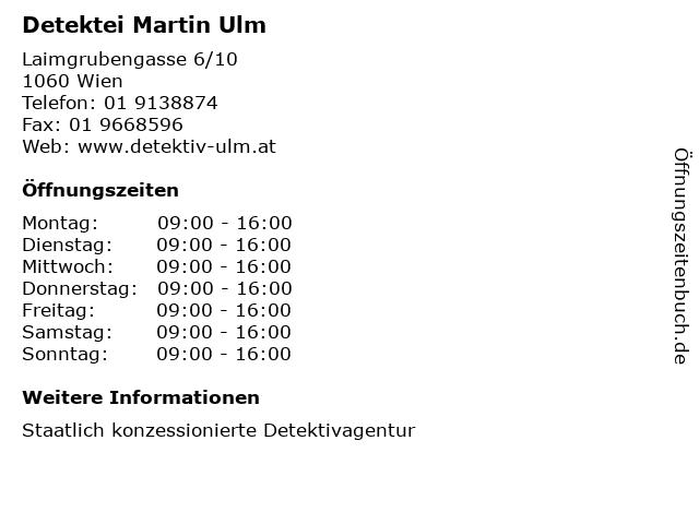 Detektei Martin Ulm in Wien: Adresse und Öffnungszeiten