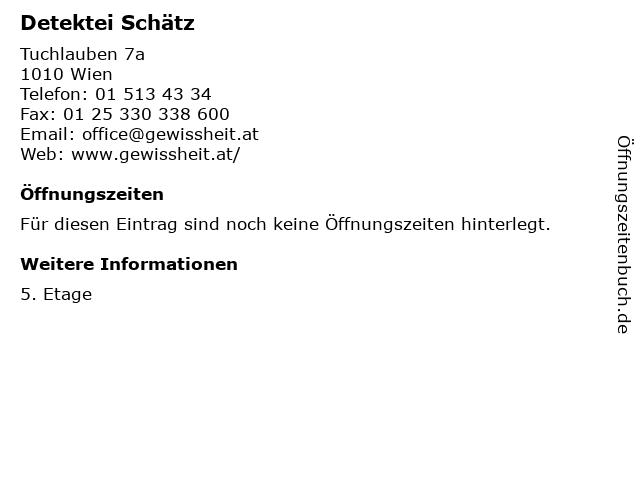 Detektei Schätz in Wien: Adresse und Öffnungszeiten