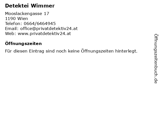 Detektei Wimmer in Wien: Adresse und Öffnungszeiten