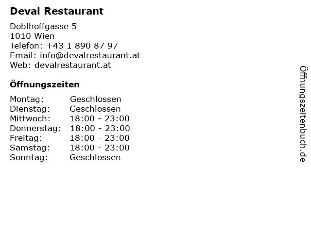 Deval Restaurant in Wien: Adresse und Öffnungszeiten