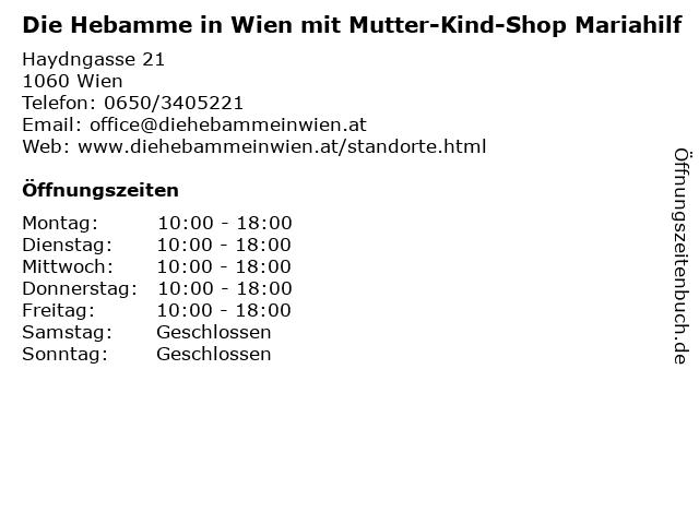 Die Hebamme in Wien mit Mutter-Kind-Shop Mariahilf in Wien: Adresse und Öffnungszeiten