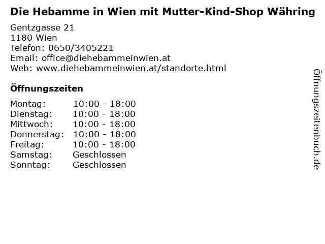 Die Hebamme in Wien mit Mutter-Kind-Shop Währing in Wien: Adresse und Öffnungszeiten