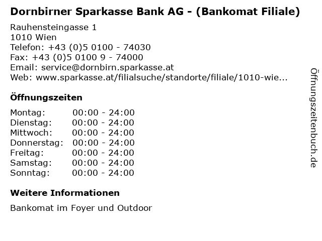 Dornbirner Sparkasse Bank AG - (Bankomat Filiale) in Wien: Adresse und Öffnungszeiten