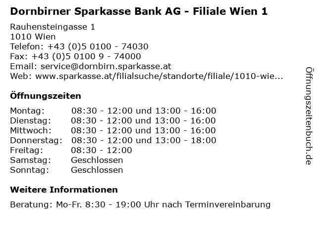 Dornbirner Sparkasse Bank AG - Filiale Wien 1 in Wien: Adresse und Öffnungszeiten
