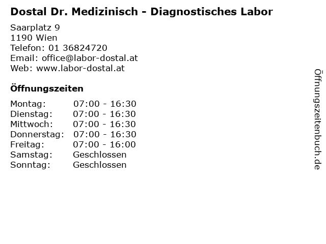 Dostal Dr. Medizinisch - Diagnostisches Labor in Wien: Adresse und Öffnungszeiten