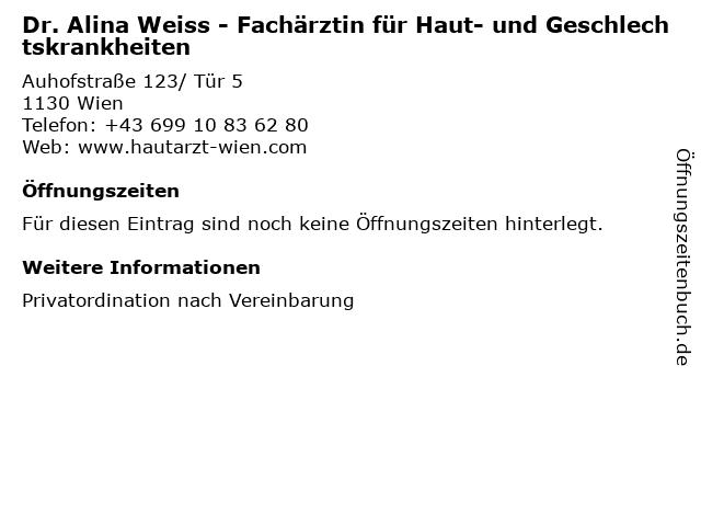 Dr. Alina Weiss - Fachärztin für Haut- und Geschlechtskrankheiten in Wien: Adresse und Öffnungszeiten