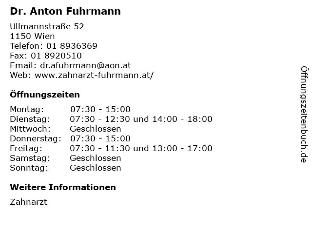 Dr. Anton Fuhrmann in Wien: Adresse und Öffnungszeiten