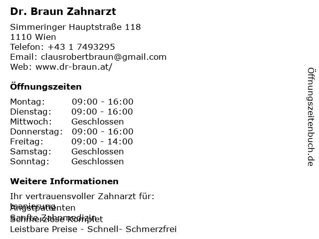Dr. Braun Zahnarzt in Wien: Adresse und Öffnungszeiten