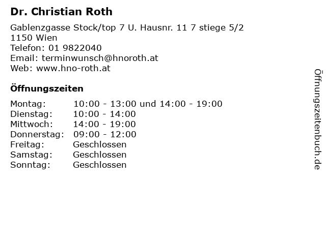 Dr. Christian Roth in Wien: Adresse und Öffnungszeiten