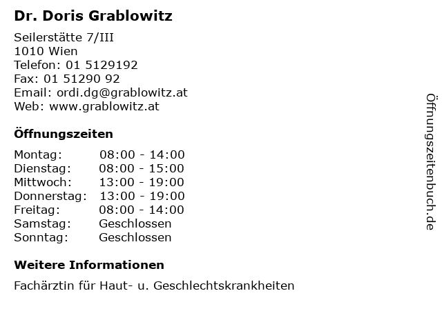 Dr. Doris Grablowitz in Wien: Adresse und Öffnungszeiten