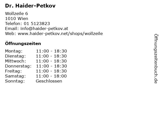 Dr. Haider-Petkov in Wien: Adresse und Öffnungszeiten