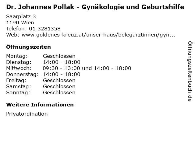 Dr. Johannes Pollak - Gynäkologie und Geburtshilfe in Wien: Adresse und Öffnungszeiten