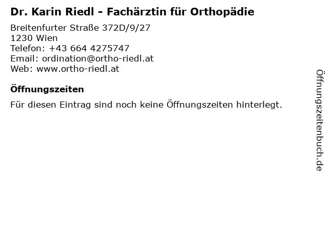 Dr. Karin Riedl - Fachärztin für Orthopädie in Wien: Adresse und Öffnungszeiten