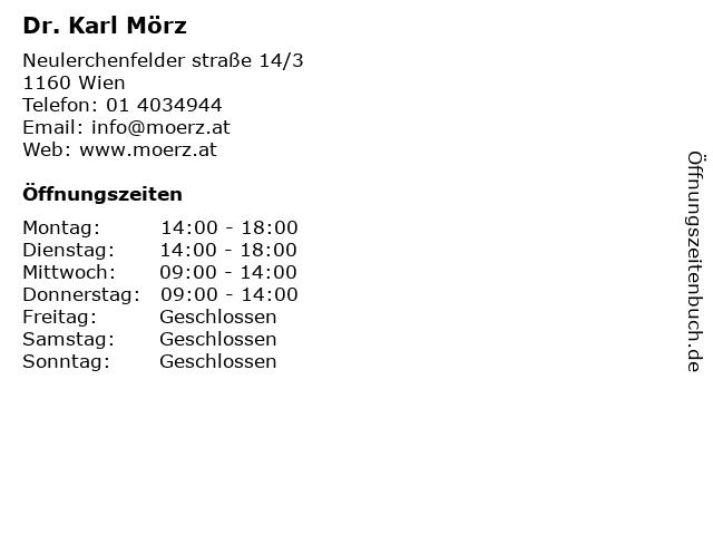 Dr. Karl Mörz in Wien: Adresse und Öffnungszeiten