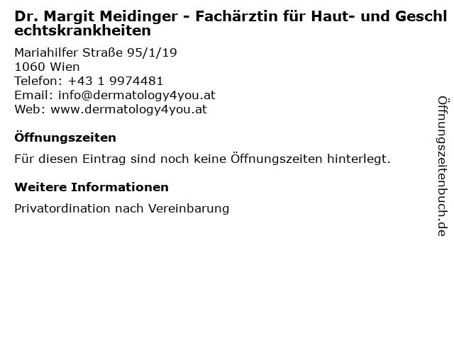 Dr. Margit Meidinger - Fachärztin für Haut- und Geschlechtskrankheiten in Wien: Adresse und Öffnungszeiten