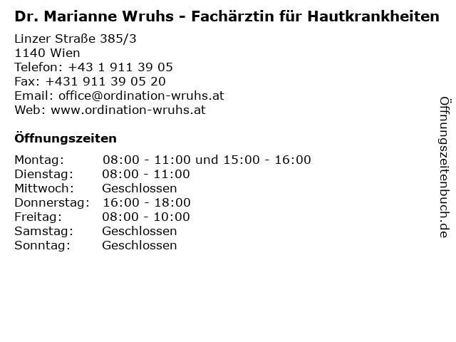 Dr. Marianne Wruhs - Fachärztin für Hautkrankheiten in Wien: Adresse und Öffnungszeiten