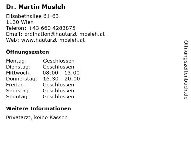 Dr. Martin Mosleh in Wien: Adresse und Öffnungszeiten