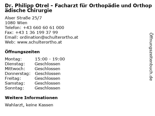Dr. Philipp Otrel - Facharzt für Orthopädie und Orthopädische Chirurgie in Wien: Adresse und Öffnungszeiten