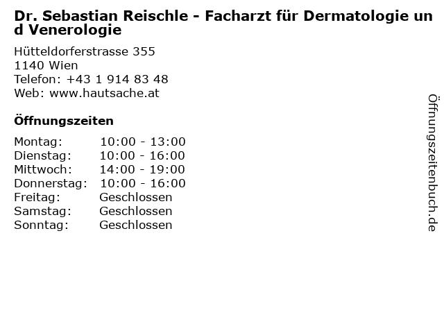 Dr. Sebastian Reischle - Facharzt für Dermatologie und Venerologie in Wien: Adresse und Öffnungszeiten