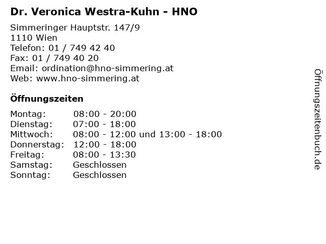 Dr. Veronica Westra-Kuhn - HNO in Wien: Adresse und Öffnungszeiten