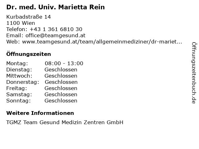 Dr. med. Univ. Marietta Rein in Wien: Adresse und Öffnungszeiten