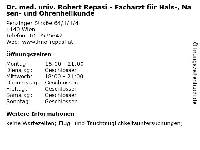 Dr. med. univ. Robert Repasi - Facharzt für Hals-, Nasen- und Ohrenheilkunde in Wien: Adresse und Öffnungszeiten