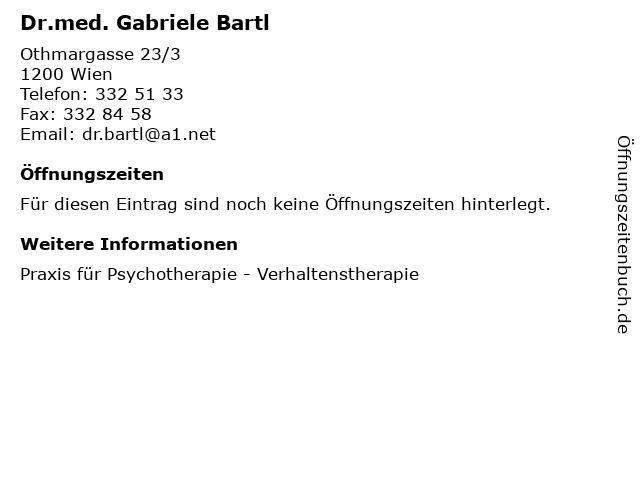 Dr.med. Gabriele Bartl in Wien: Adresse und Öffnungszeiten