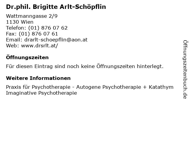 Dr.phil. Brigitte Arlt-Schöpflin in Wien: Adresse und Öffnungszeiten