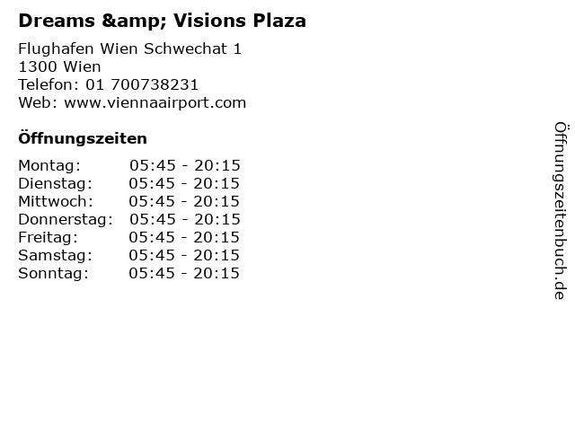 Dreams & Visions Plaza in Wien: Adresse und Öffnungszeiten