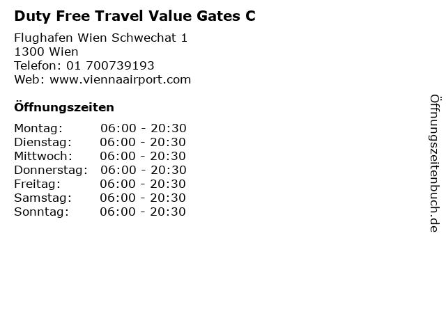 Duty Free Travel Value Gates C in Wien: Adresse und Öffnungszeiten