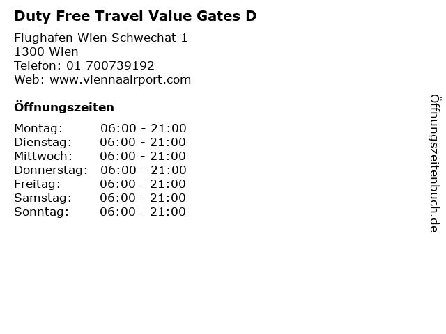 Duty Free Travel Value Gates D in Wien: Adresse und Öffnungszeiten
