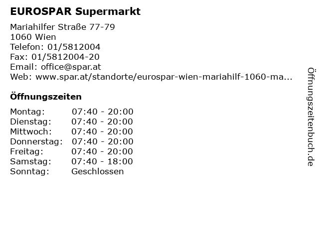 EUROSPAR Supermarkt in Wien: Adresse und Öffnungszeiten