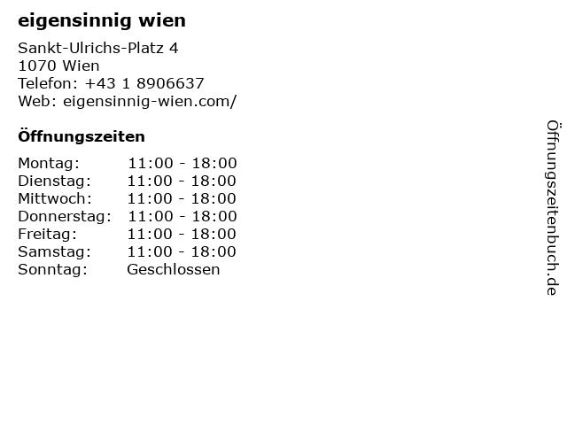 Eigensinnig Fashion in Wien: Adresse und Öffnungszeiten