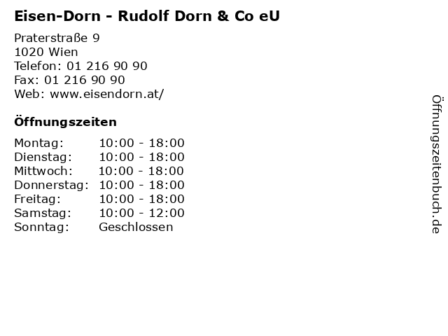 Eisen-Dorn - Rudolf Dorn & Co eU in Wien: Adresse und Öffnungszeiten